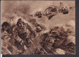 """Postkarte Deutsches Kampfflugzeug Greift Im Tiefflug Polnische Stellungen An  , Luftwaffen - Illustrierte """" Der Adler """" - Deutschland"""