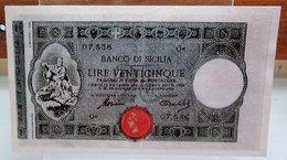 MINI BANCONOTA FAC-SIMILE LIRE VENTICINQUE BANCO DI SICILIA - Specimen
