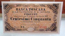 MINI BANCONOTA FAC-SIMILE CENTESIMI CINQUANTA BANCA TOSCANA - Fictifs & Spécimens