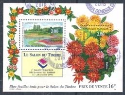 FRANCE 1994 Bloc Salon Timbre Parc Floral Oblitéré Dalhias Flower Fleur - Oblitérés