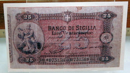MINI BANCONOTA FAC-SIMILE LIRE VENTICINQUE BANCO DI SICILIA - Fictifs & Spécimens