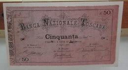 MINI BANCONOTA FAC-SIMILE LIRE CINQUANTA BANCA NAZIONALE TOSCANA - Specimen