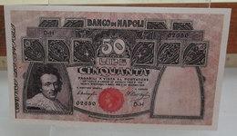 MINI BANCONOTA FAC-SIMILE LIRE 50 BANCO DI NAPOLI - Fictifs & Spécimens