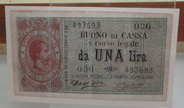 MINI BANCONOTA FAC-SIMILE LIRE UNA BUONO DI CASSA 1893 - Fictifs & Spécimens