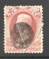 OFFICIAL 1873 War Dept  2¢  Fancy Cancel Sc O84 - Officials