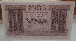 MINI BANCONOTA FAC-SIMILE LIRE UNA REGNO D'ITALIA - Fictifs & Spécimens