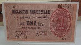 MINI BANCONOTA FAC-SIMILE LIRE UNA BIGLIETTO CONSORZIALE 1874 - Fictifs & Spécimens