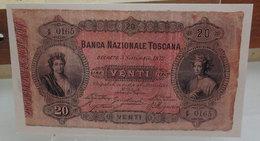 MINI BANCONOTA FAC-SIMILE LIRE VENTI BANCA NAZIONALE TOSCANA - Fictifs & Spécimens
