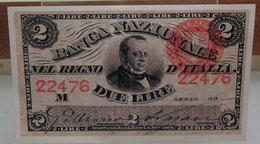 MINI BANCONOTA FAC-SIMILE LIRE DUE REGNO D'ITALIA - Specimen