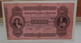 MINI BANCONOTA FAC-SIMILE CENTO LIRE BANCA NAZIONALE TOSCANA - Fictifs & Spécimens