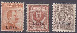 LIBIA (COLONIA ITALIANA) - Lotto Di Tre Valori Nuovi MNH: Yvert 1, 2 E 6, Come Da Immagine. - Libia