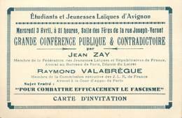 """CPA / PETIT PAPIER FRANCE 84 """"Avignon, Carton D'Invitation Jeunesse Laïque Contre Le Fascisme"""" / 2EME GUERRE - Avignon"""