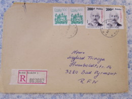 Poland 1989 Registered Cover To Germany - Krakow - National Leaders - 1944-.... República