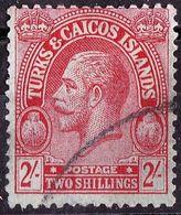 TURKS & CAICOS ISLANDS 1922 2/- Red/Emerald SG174 FU - Turks And Caicos