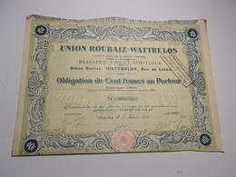 UNION ROUBAIX WATTRELOS Brasserie,vins Spiritueux (nord) - Shareholdings