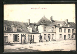 CPA Arrou, La Place & Café Du Commerce - Non Classés