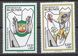 Burundi 1994 Mi# 1800-01** MAP, COAT OF ARMS AND FLAG OF BURUNDI - Burundi