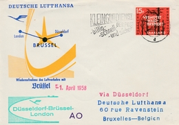 Saarbrucken 1958 Saar Sarre - Erstflug Dusseldorf - Brussel - London - 1er Vol  - Deutsche Lufthansa - Bruxelles - 1957-59 Federation
