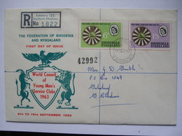 RHODESIA & NYASALAND - 1963  World Council Of Young Men`s Service Clubs FDC - Registered Salisbury - Rhodésie & Nyasaland (1954-1963)