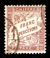 Taxe  39 - 1F Rose Sur Paille - Oblitéré - Très Beau - Postage Due