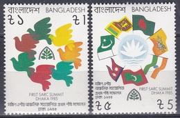 Bangladesch Bangladesh 1985 Organisationen Kooperation Zusammenarbeit Tauben Doves Flaggen Flags SAARC, Mi. 239-0 ** - Bangladesch