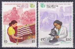 Bangladesch Bangladesh 1985 Organisationen UNO ONU Frauen-Dekade Women Webstuhl Loom Mikroskop Microscope, Mi. 233-4 ** - Bangladesch