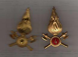 VIGILI Del FUOCO -  FREGIO FIAMMA In METALLO Da CAPPELLO N° 4. Fissaggio A VITE  Vedi Descrizione. - Pompieri