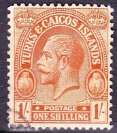 TURKS & CAICOS ISLANDS 1922 1/- Brown-Orange SG172 FU - Turks And Caicos