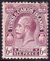 TURKS & CAICOS ISLANDS 1922 6d Purple SG171 FU - Turks And Caicos
