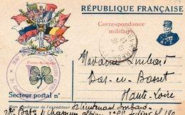 CP-Correspondance Militaire- 9 Drapeaux-Cachet- 28 Bat Chasseurs Alpins- - Marcophilie (Lettres)