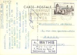 CARTE POSTALE 1957 THIONVILLE - Marcofilia (sobres)