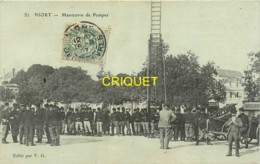 79 Niort, Manoeuvre De Pompes à Incendie, N° 2, Thème Pompiers, Belle Carte Affranchie 1907, Cliché Pas Courant - Niort