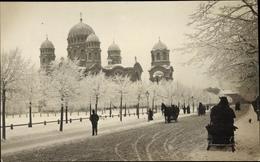 Photo Cp Riga Lettland, Geburtskathedrale, Winterszene - Latvia
