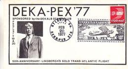 Etats Unis - Lettre De 1977 - 50 Ièmè Anniversaire Lindbergh's Trans Atlantic Flight - Cachet Spécial Deka Pex - United States