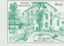 CP - VENCE - VILLA ROSERAIE - HOTEL DE CHARME - MARTIN RHYS - JONES 87 - AVEC PLAN D'ACCÈS AU DOS - Vence