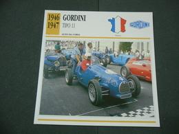 CARTOLINA CARD SCHEDA TECNICA  AUTO  CARS  GORDINI 11 - Altri