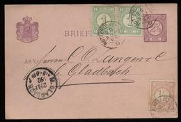 S5992 - Niederlande GS Postkarte Mit Marken: Gebraucht Bahnpost Rotterdam Venloo - M. Gladbach 1892 , Bedarfserhaltung - Ganzsachen