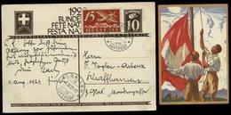 S5853 - Schweiz Bundesfeier Postkarte 1929 Flugpost : Gebraucht Zürich - St. Gallen 1.8.1929, Bedarfserhaltung. - Luftpost