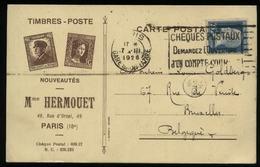 S3048 Frankreich Briefmarken Werbe Postkarte : Gebraucht Paris - Brüssel 1926, Bedarfserhaltung. - 1900-27 Merson