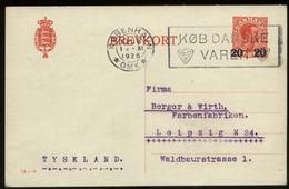 S2399 Dänemark GS Postkarte: Gebraucht Kopenhagen - Leipzig 1926 , Bedarfserhaltung. - Ganzsachen
