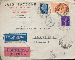 ITALY CENSORED AIR EXPRES COVER FROM GENOVA 14.05.43 TO FLAWINNE BELGIUM - Storia Postale