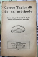 Michelin  1927   Ce Que Taylor Dit De Sa Méthode - Autres Collections