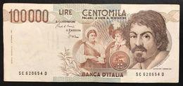 100000 Lire Caravaggio I° Tipo Serie C 1986 Lotto.2338 - [ 2] 1946-… : Repubblica