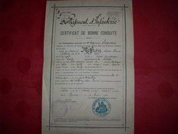 Diplôme 1900 Certificat De Bonne Conduite ( 24ème Régiment D'Infanterie ) - Diplômes & Bulletins Scolaires