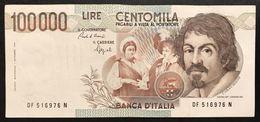 100000 Lire Caravaggio I° Tipo 1993 F  Q.spl Biglietto Naturale  LOTTO 1574 - [ 2] 1946-… : Repubblica
