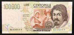 100000 Lire CARAVAGGIO 2° TIPO SERIE A 1994 Sup LOTTO 1596 - [ 2] 1946-… : Républic