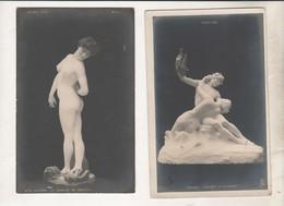 Lot De 2 Cartes - Femme Nue - La Joueuse De Boules (Gerome) +  Le Poête Et A Sirène (Mannaux) - Salon 1902 Et 1903 - Sculpturen