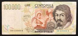 100000 Lire CARAVAGGIO 2° TIPO SERIE B 1995  LOTTO 1616 - [ 2] 1946-… : Républic