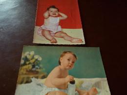 B706   2 Cartoline Bambini Viaggate Presenza Alcune Pieghe - Bambini