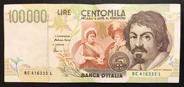 100000 Lire CARAVAGGIO 2° TIPO SERIE C 1995  LOTTO 1620 - [ 2] 1946-… : République